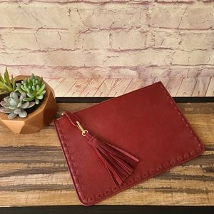 NWOT Madison West Maroon Faux Leather Pouch Clutch